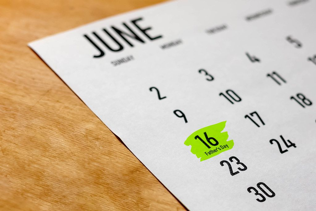 Father's Day. 16 June highlighted on white 2019 calendar