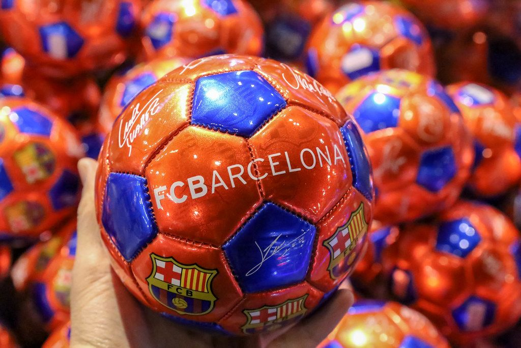 FC Barcelona football in club colors with signatures and autographs of the football players, in Spain
