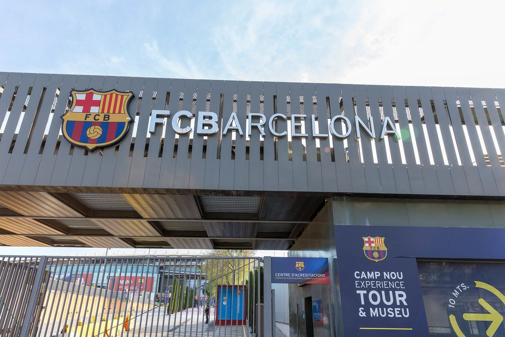 FC Barcelona logo at the entrance of Europe's largest football stadium