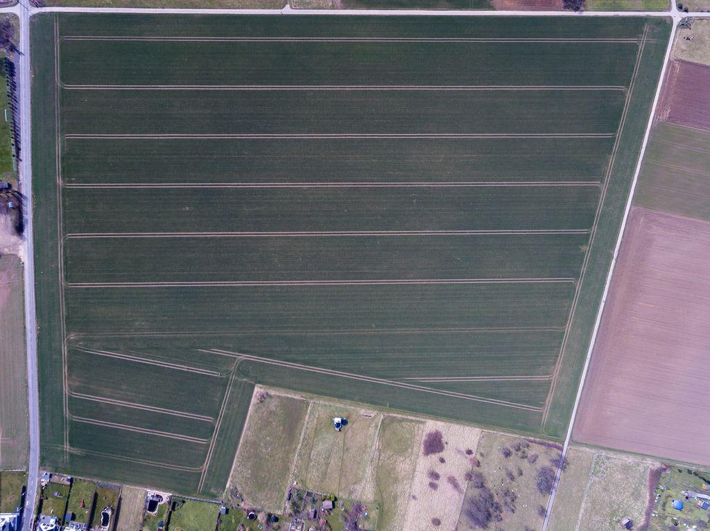 Feld mit Traktorspuren aus der Vogelperspektive