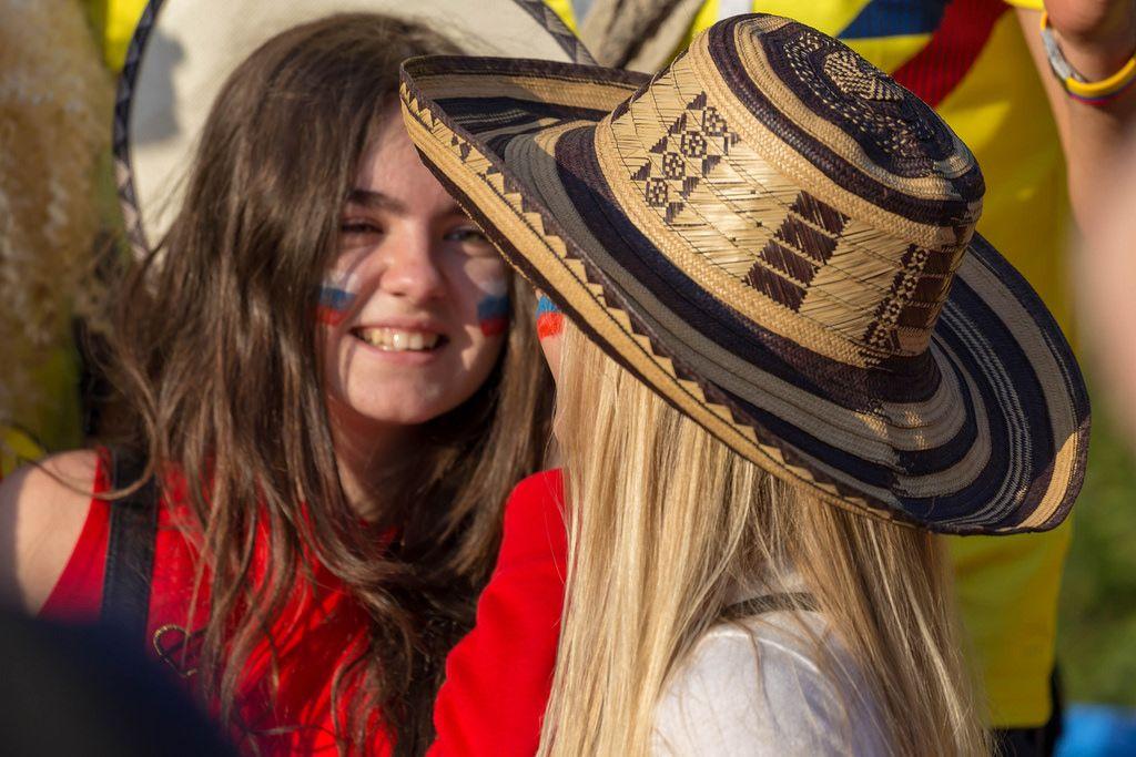 Female soccer fan from Colombia wearing a Sombrero vueltiao