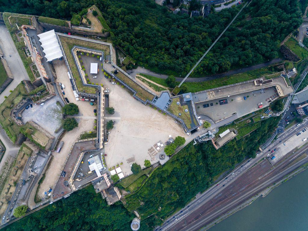 Festung Ehrenbreitstein aus der Vogelperspektive