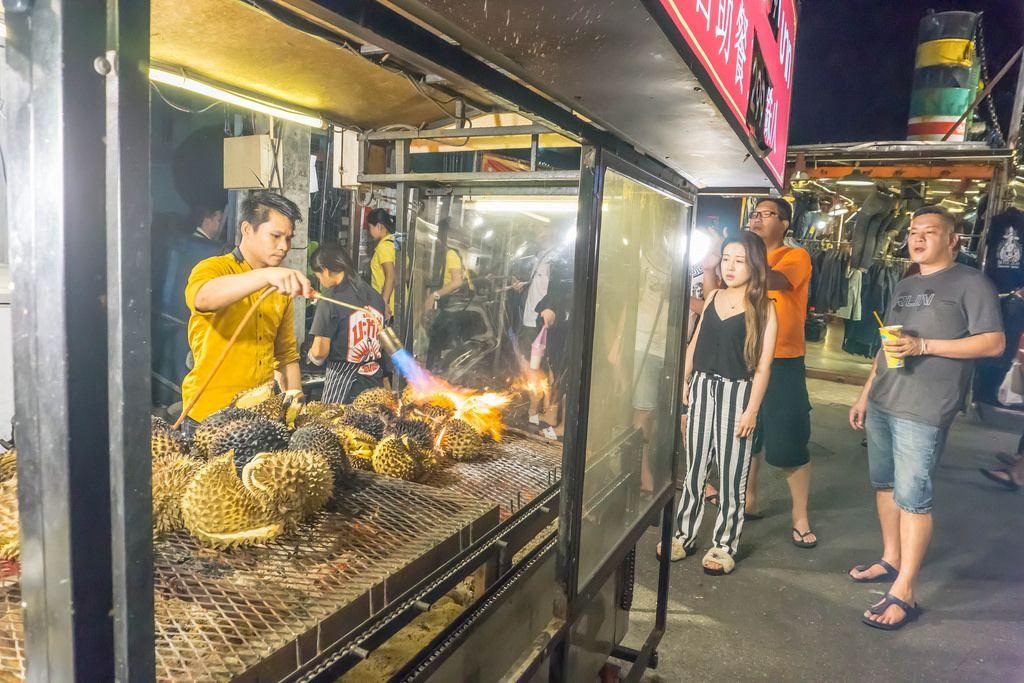 Flame Grilled Durian at Ratchada Rod Fai Night Market in Bangkok