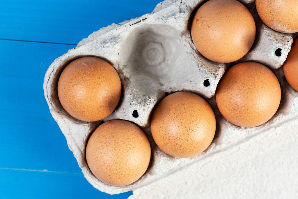 Flat lay above Chicken Eggs