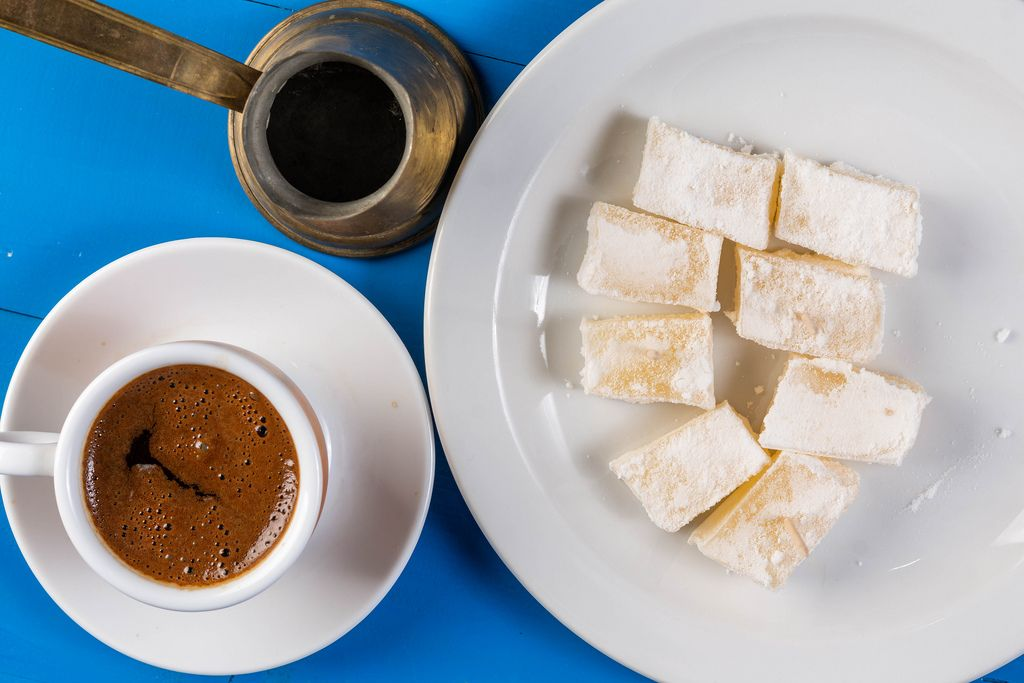 Flat lay above Cup of Coffee with Turkish Delight (Flip 2019)