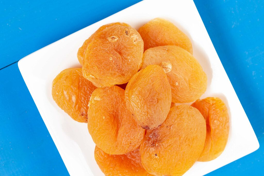 Flat lay above Dried Peaches