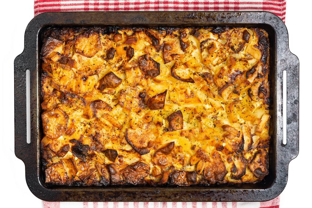 Flat lay above freshly baked potatoes moussaka with minced meat