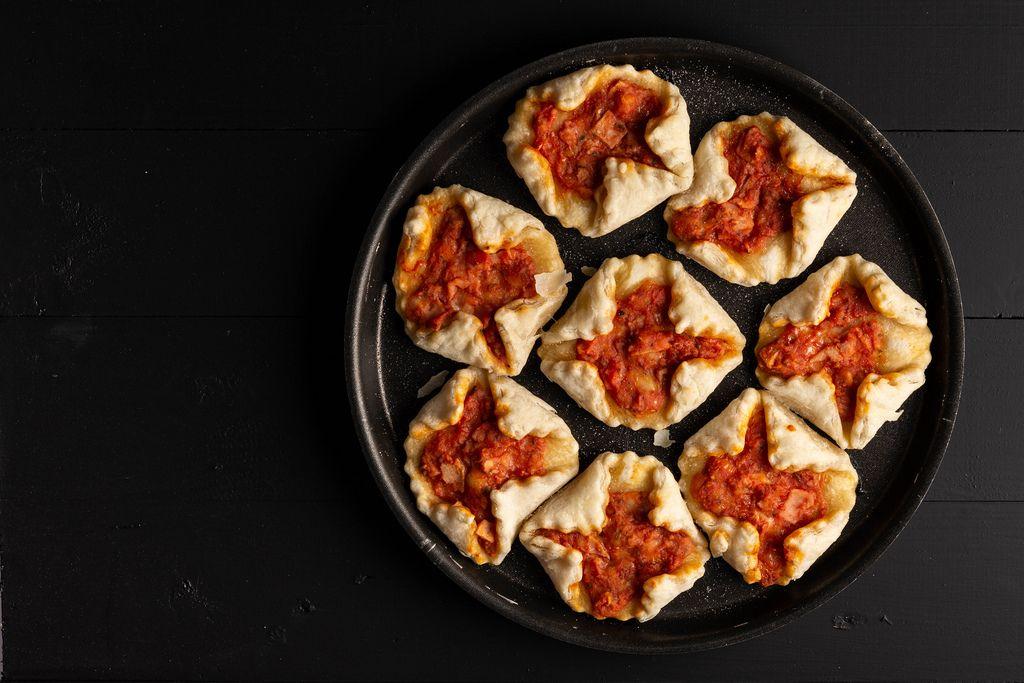 Flat lay above Mini Pizzas
