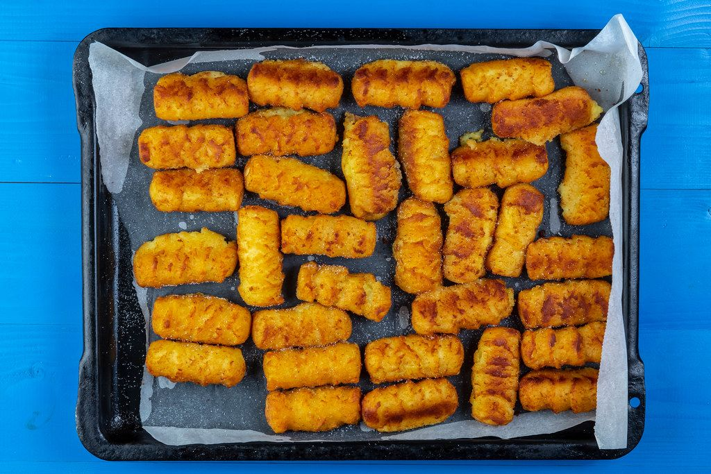 Flat lay above Potato Croquettes on the oven tray (Flip 2019)