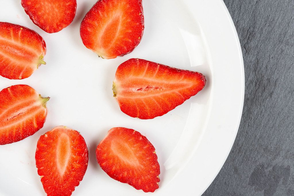 Flat lay above Sliced Strawberries (Flip 2019)