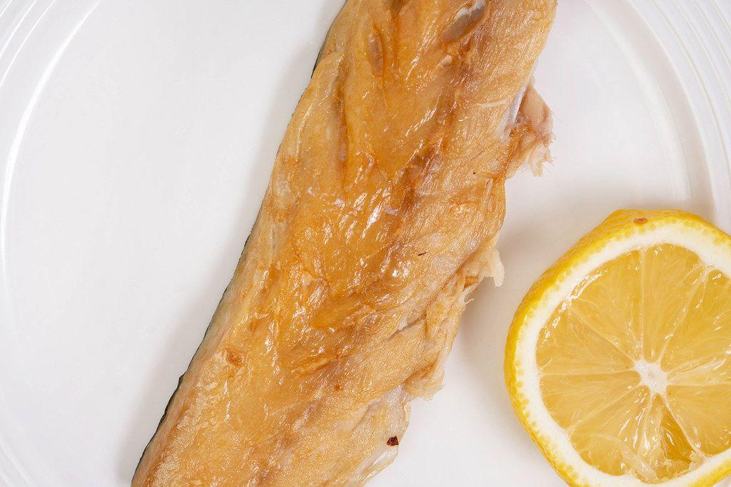 Flat lay above Smoked Mackerel fish