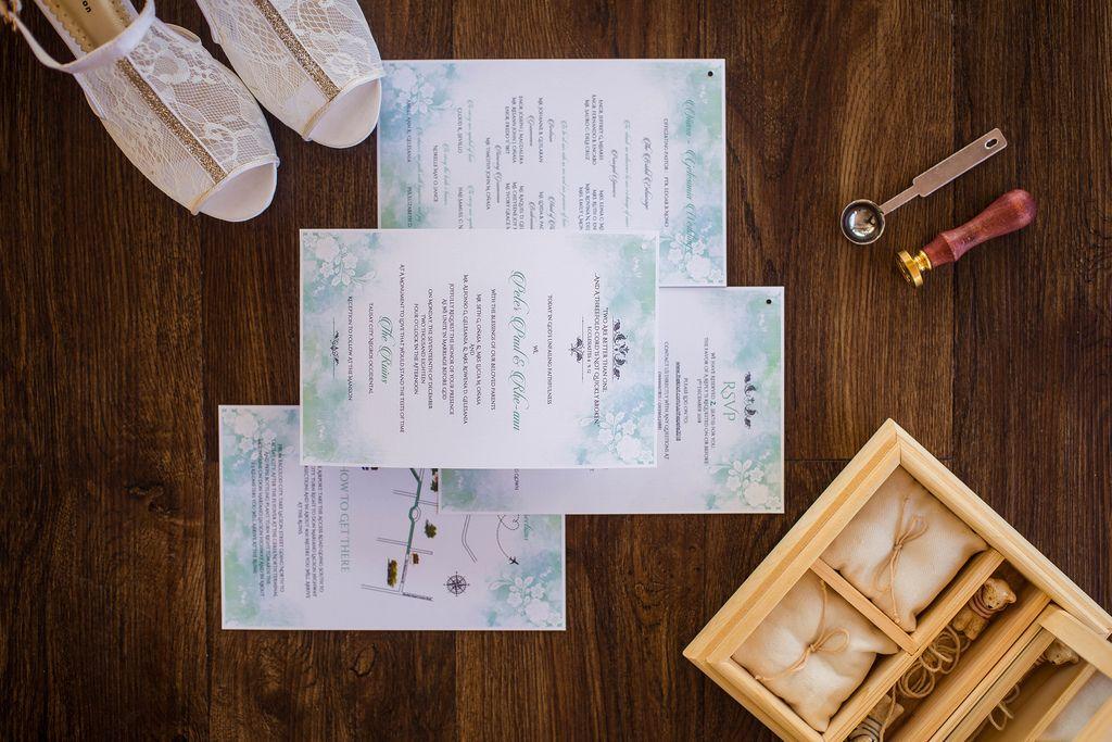 Flat lay photo of wedding details