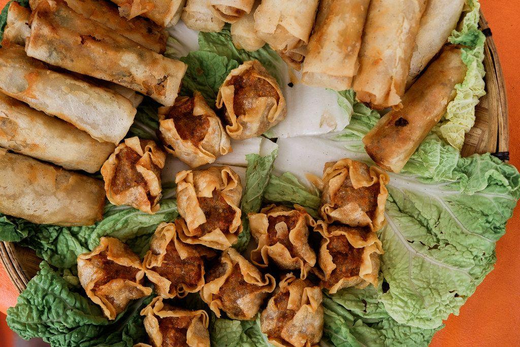 Flatlay shot of fried dumplings and shanghai rolls (Flip 2019)