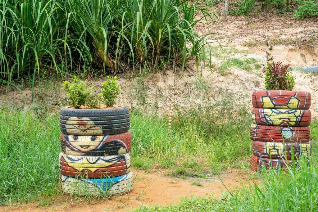 Flower Planters made of Tires with Superhero Painting in Mui Ne, Vietnam