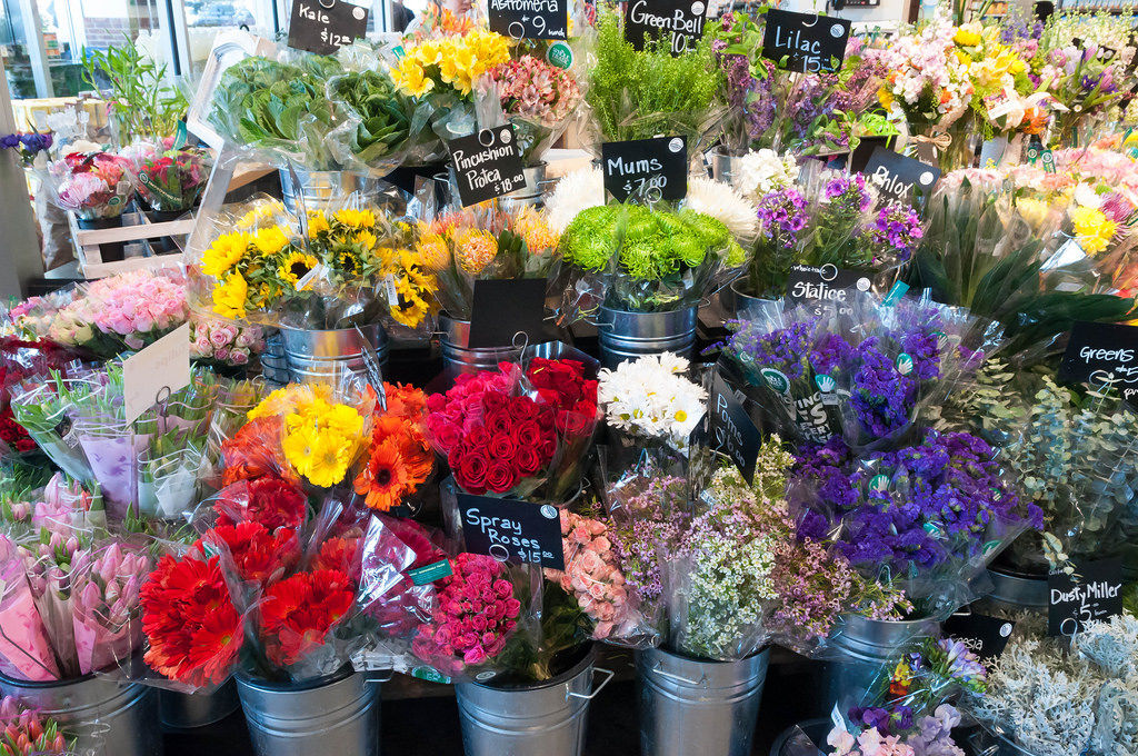 Flowers in Whole Foods Market Boston