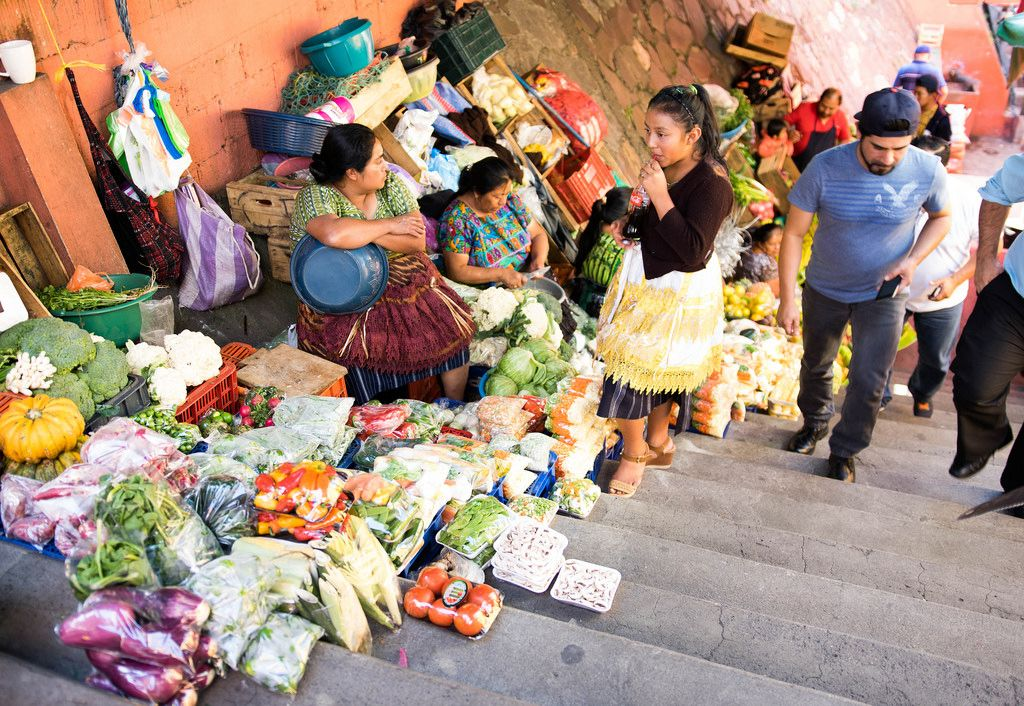 Food market entrance in Guatemala