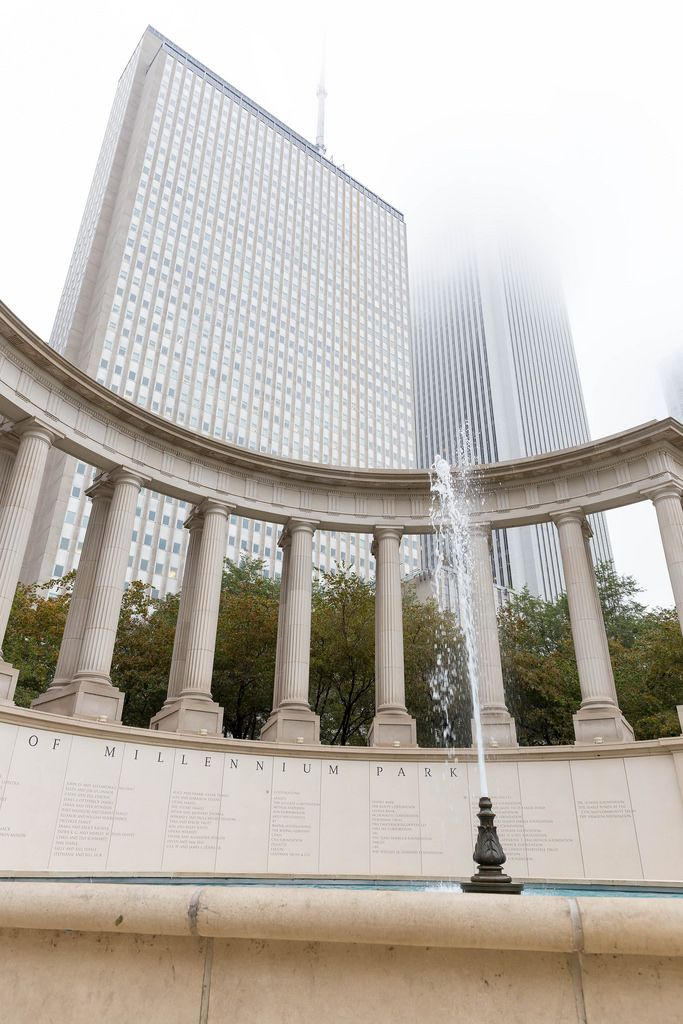 Fountain at the Millennium Monument in Wrigley Square, Chicago