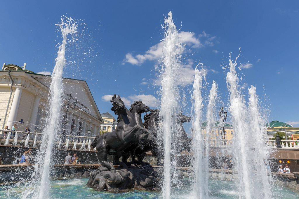 Fountain with four galloping horses at Manege square, Moscow