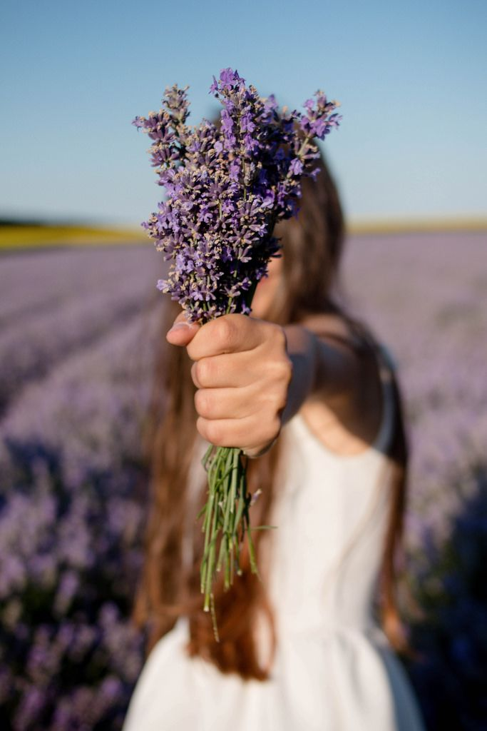 Frau mit Lavendel-Blumenstrauß im Feld