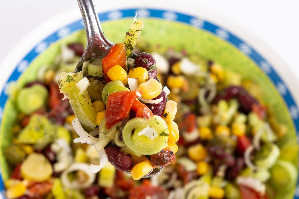 Fresh and healthy corn and beans salad in the bowl