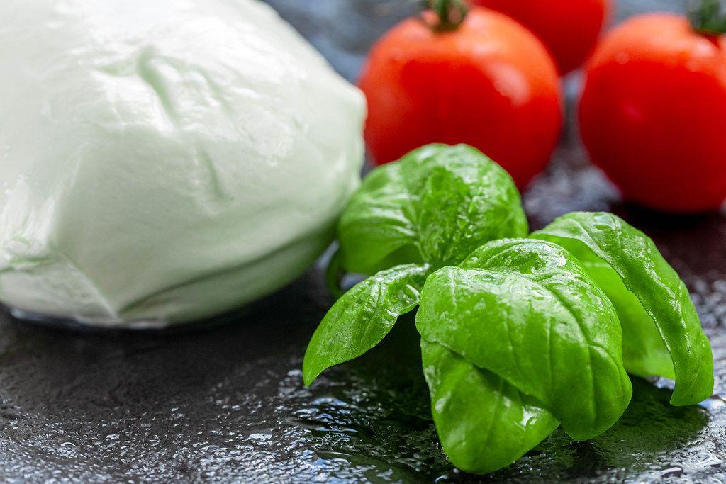 Fresh Basil leaves, tomatoes and mozzarella cheese (Flip 2019) (Flip 2019)