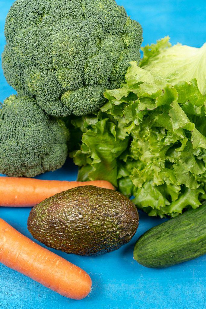 Fresh Carrots, Avocado, Broccoli, Lettuce and Cucumber