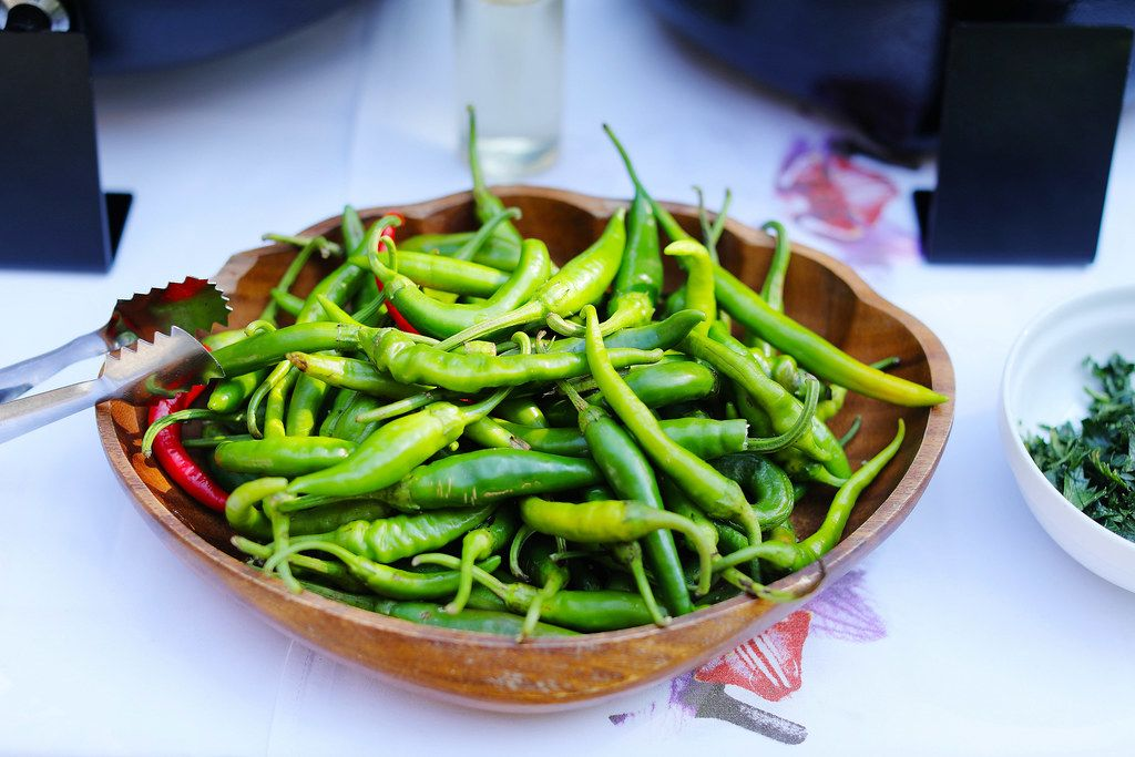 Fresh hot chili peppers in a bowl. Korean hot peppers