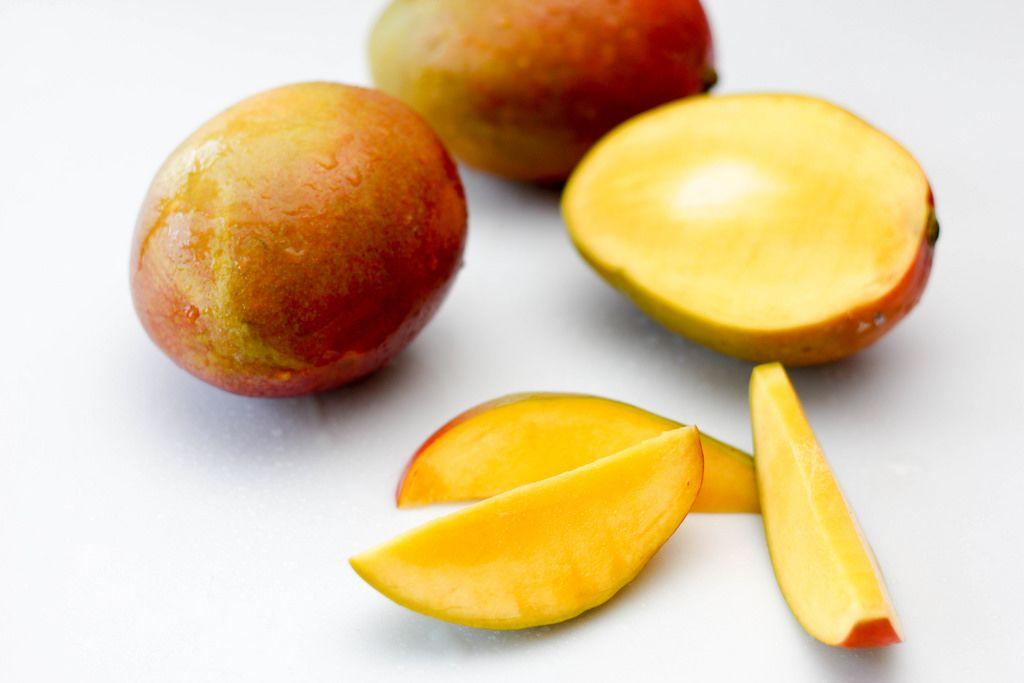 Fresh Mango on a White Background Close-Up