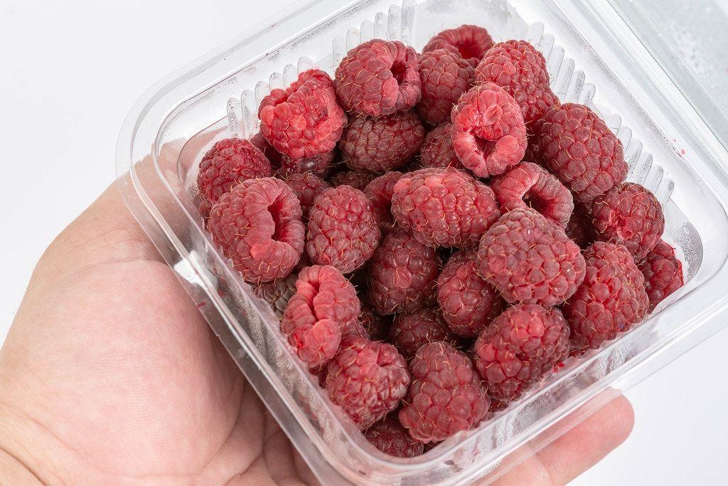 Fresh Raw Raspberry in the market box (Flip 2019) (Flip 2019) (Flip 2019)