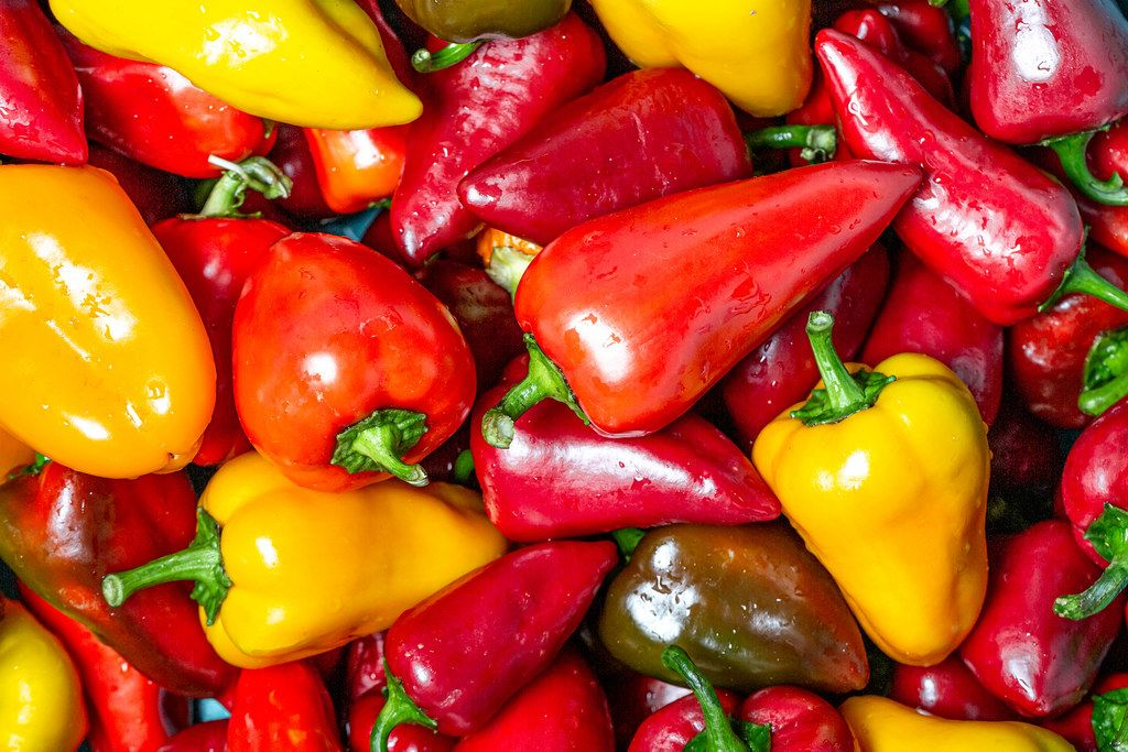 Fresh ripe red and yellow bell pepper background (Flip 2019)