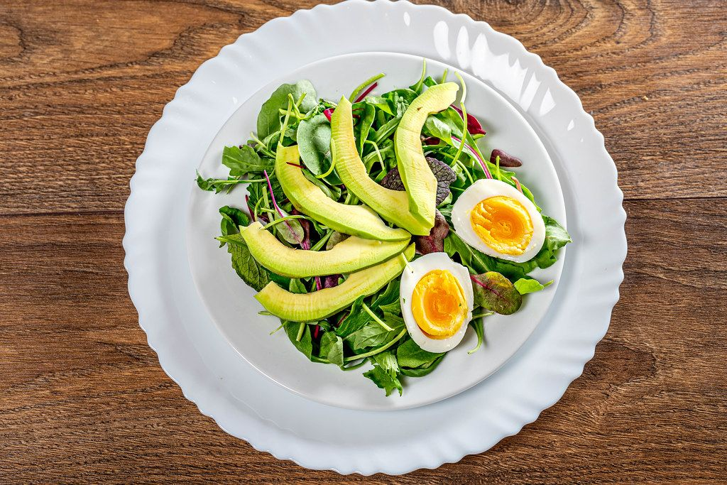 Fresh salad with lettuce, boiled eggs and avocado. Top view (Flip 2019)