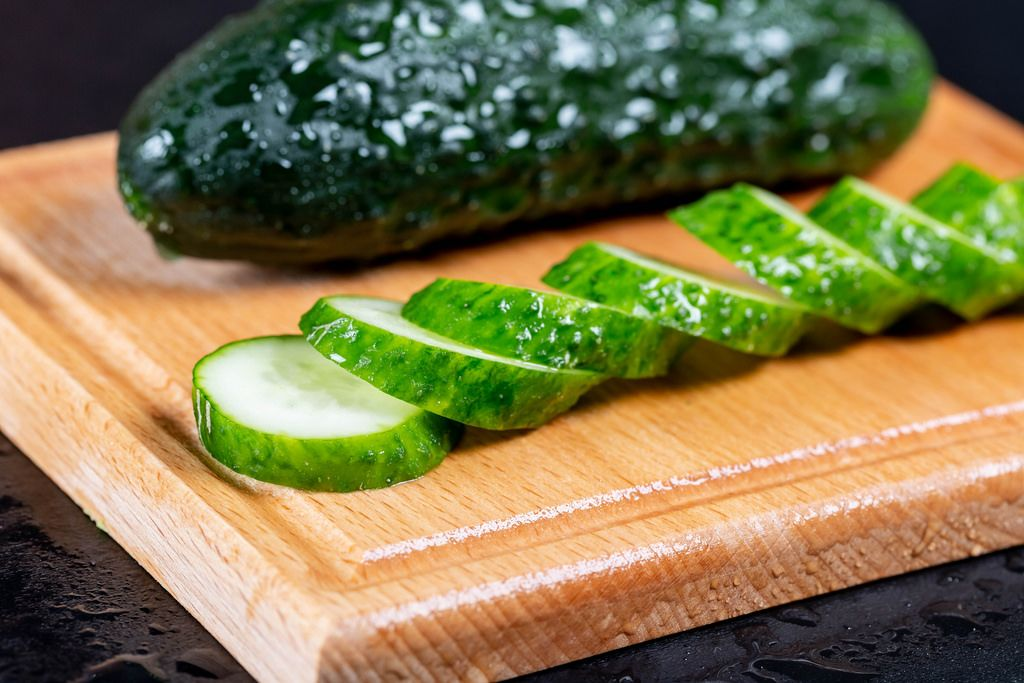 Fresh sliced wet cucumber