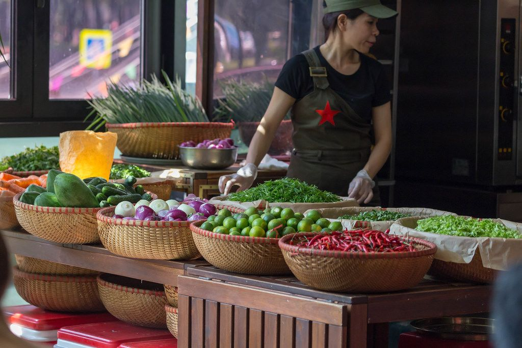 Fresh vegetables at Vietnamese Bánh mì fast food stand at Danilovsky Market in Moscow