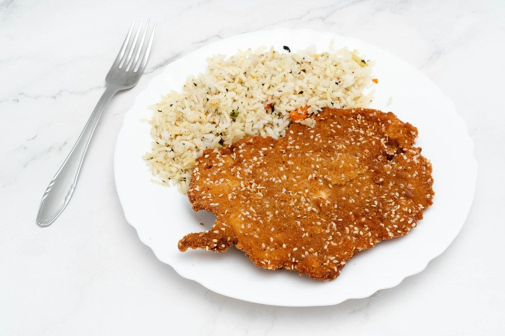 Fried Chicken meat with cooked Rice served on the plate