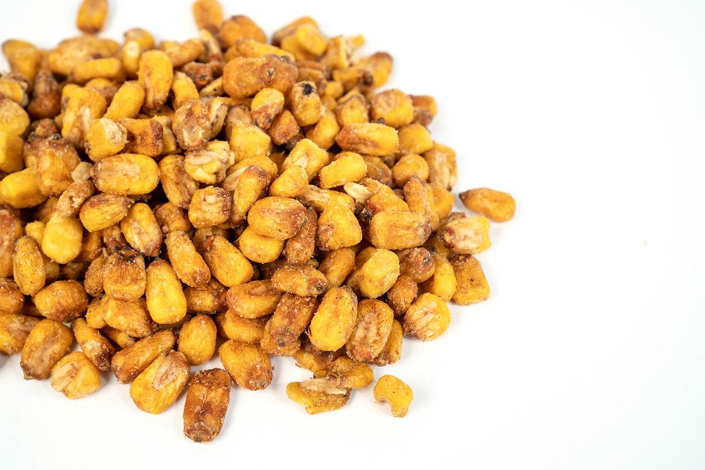 Fried Corn with copy space above white background (Flip 2019)