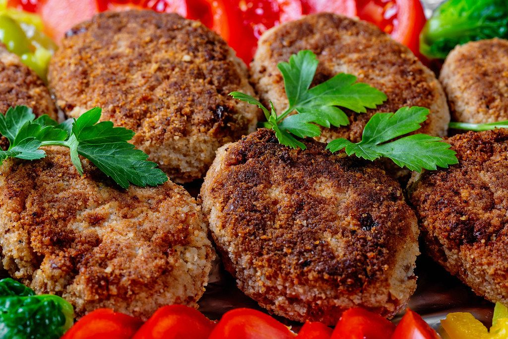 Fried meat cutlets close-up