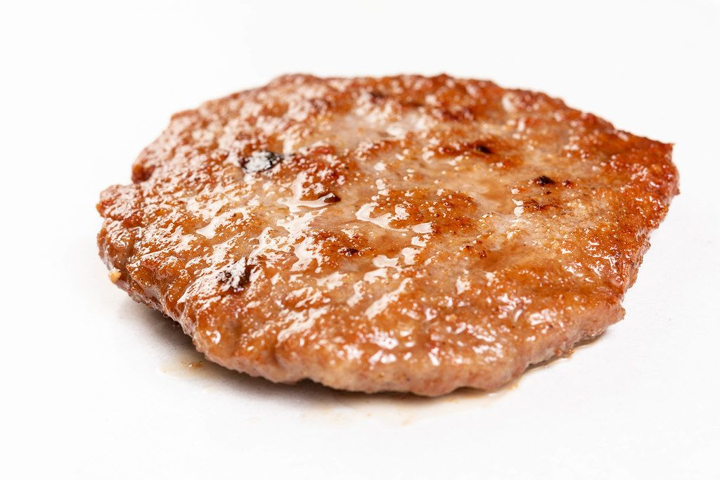 Fried Minced Meat Steak on the white marble (Flip 2019)