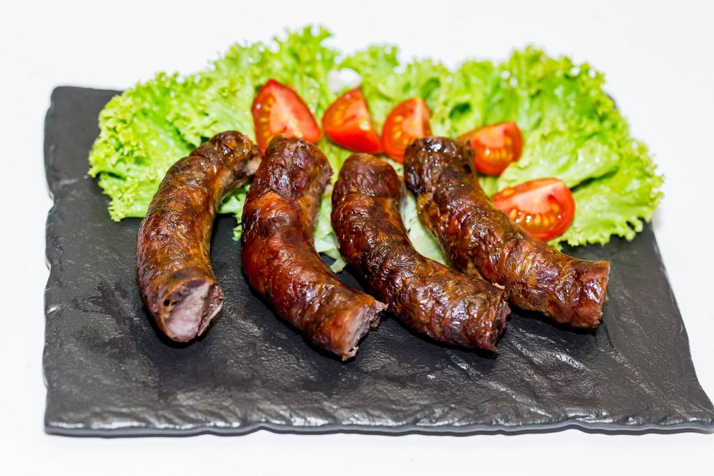 Fried sausages with vegetables