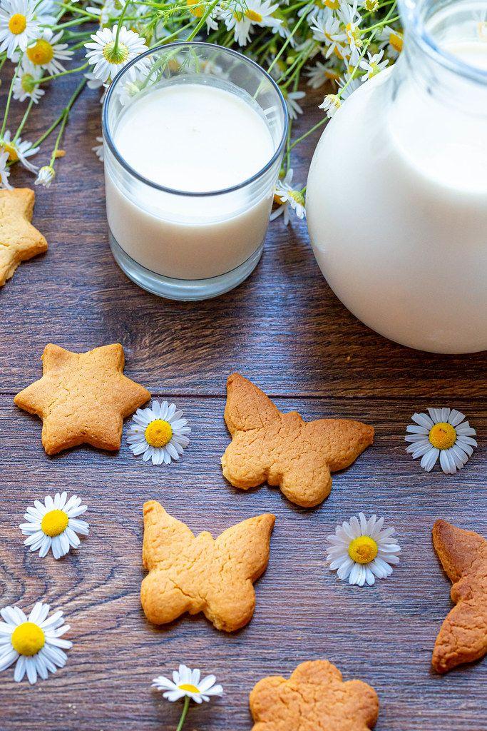 Frische Milch in einem Glas und einer Karaffe im Landhausstil, neben selbstgebackenen Plätzchen und Gänsbeblümchen, auf einem Holztisch