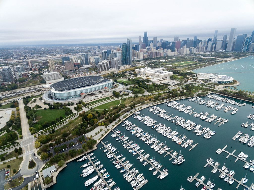 From above: Soldier Field, Museum Campus, The Field Museum, Shedd Aquarium and Skyline of Chicago
