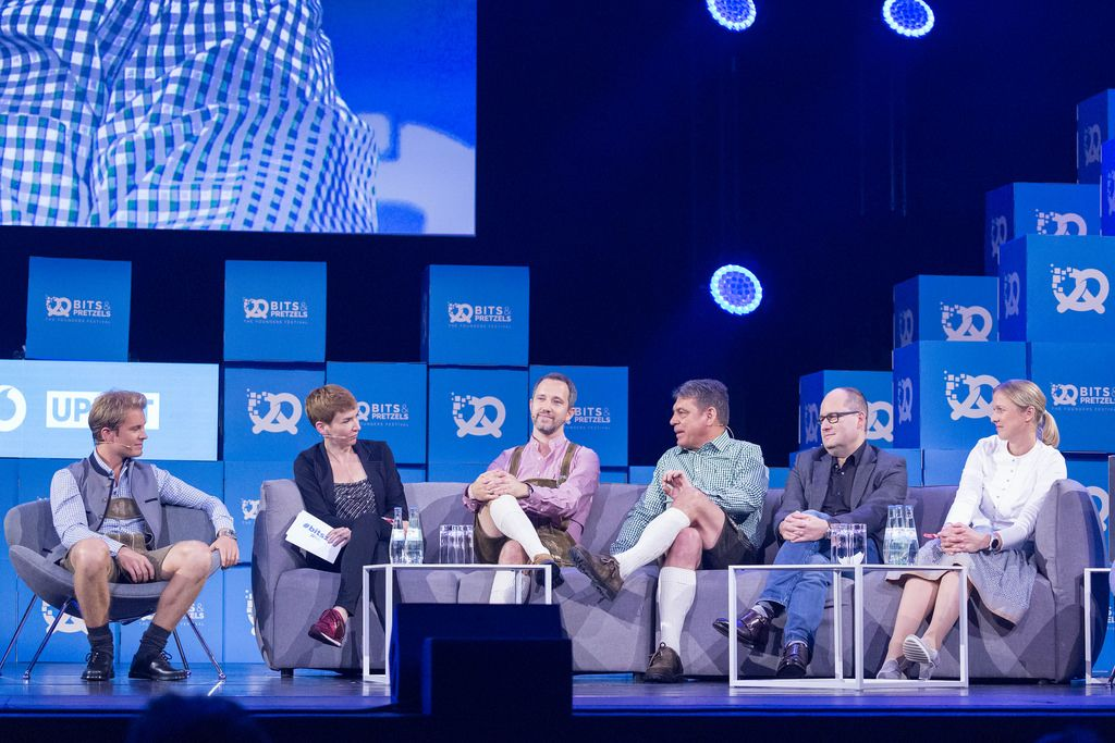 from left to right - Nico Rosberg, Britta Weddeling, Florian Reuter, Dr. Carsten Breitfeld, Dr. Lars Krause und Silja Pieh at a talk about the Future of Mobility