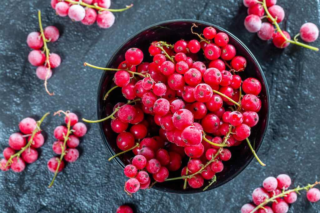 Frozen red currant in a black bowl on a black stone tray. Top view (Flip 2019)