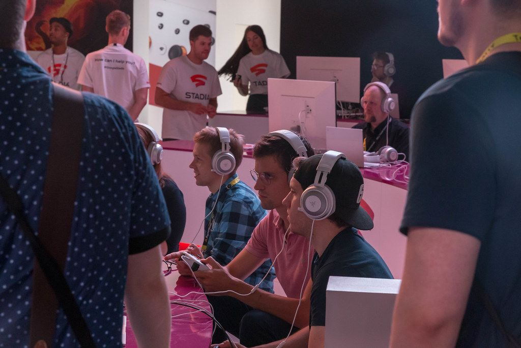 Games fair visitors at Stadia Area at Gamescom, with cloud-native platform, lets you play across devices