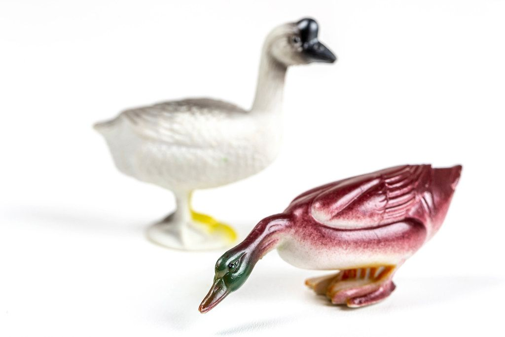Gander and duck toy figures on a white background