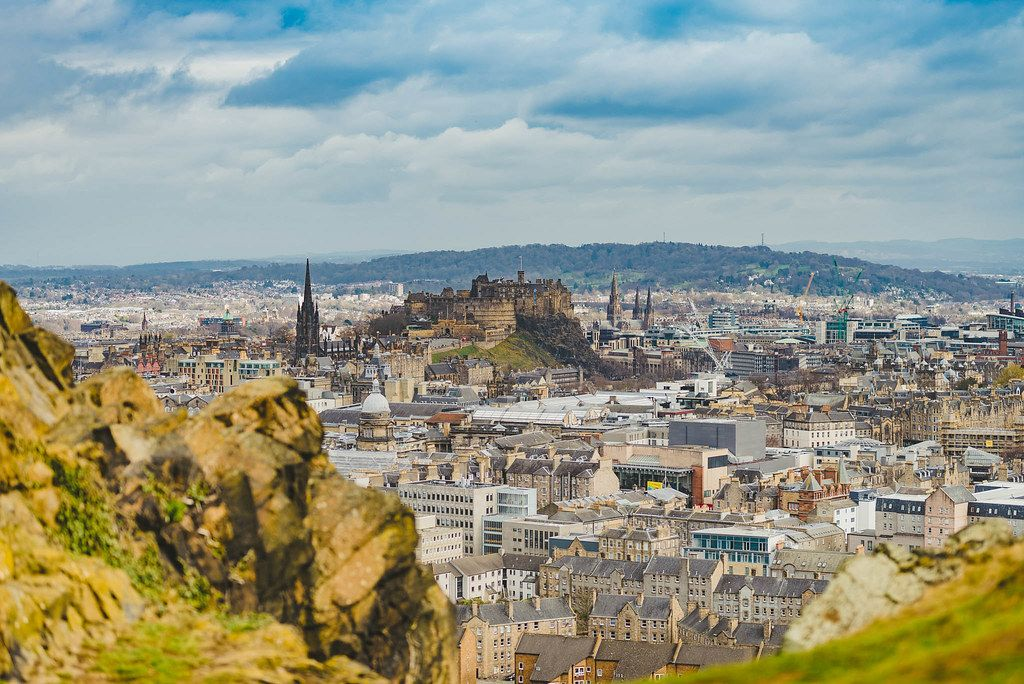General view of Edinburgh from Edinburgh Castle with Holyrood Park and Arthur`s Seat. Editorial Stock Photo  (Flip 2019)