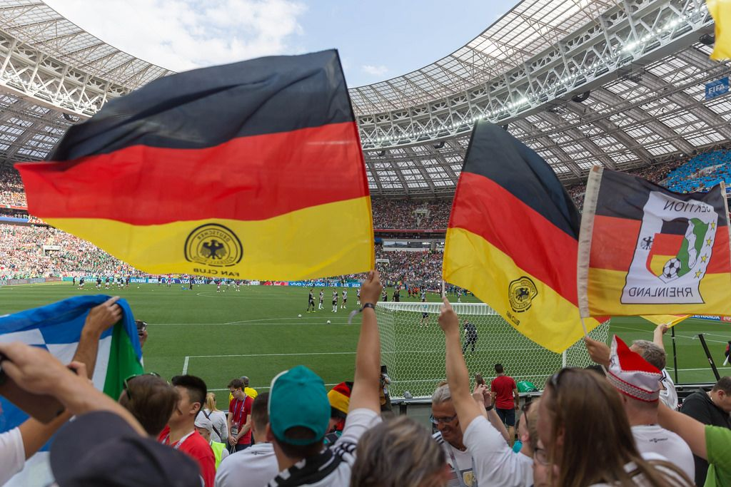 German flags in the Luzhniki stadium