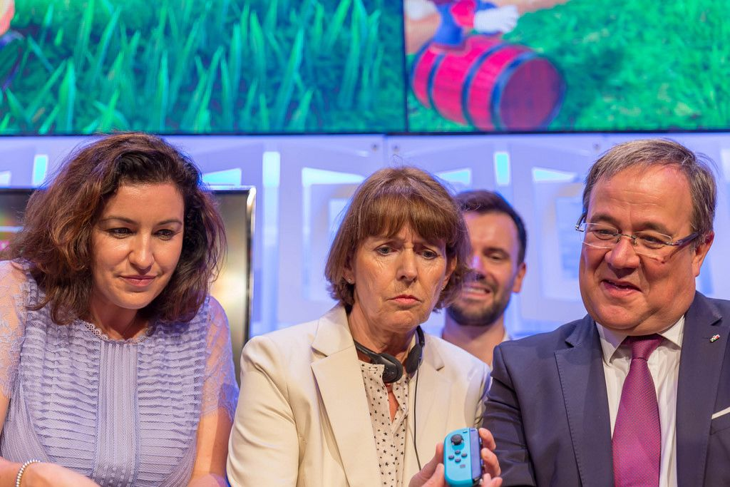 German politicians Dorothee Bär, Armin Laschet and Henriette Reker at Gamescom 2018