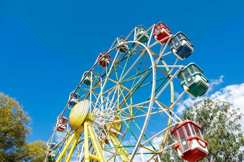 Giant ferris wheel in an amusement park