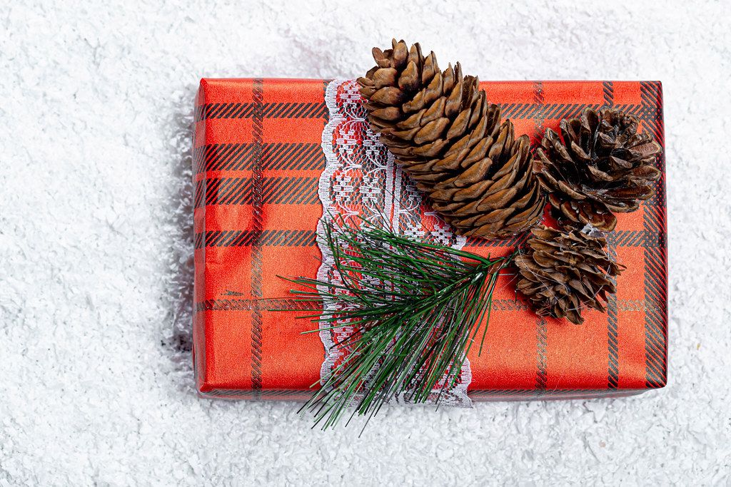 Gift box for the New year decorated with Christmas tree branches and cones on the background of snow
