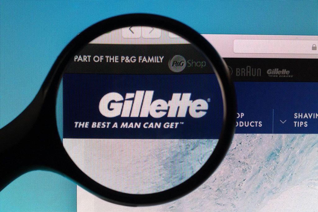 Gillette logo under magnifying glass